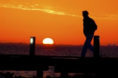 On the Bridge at Sunrise